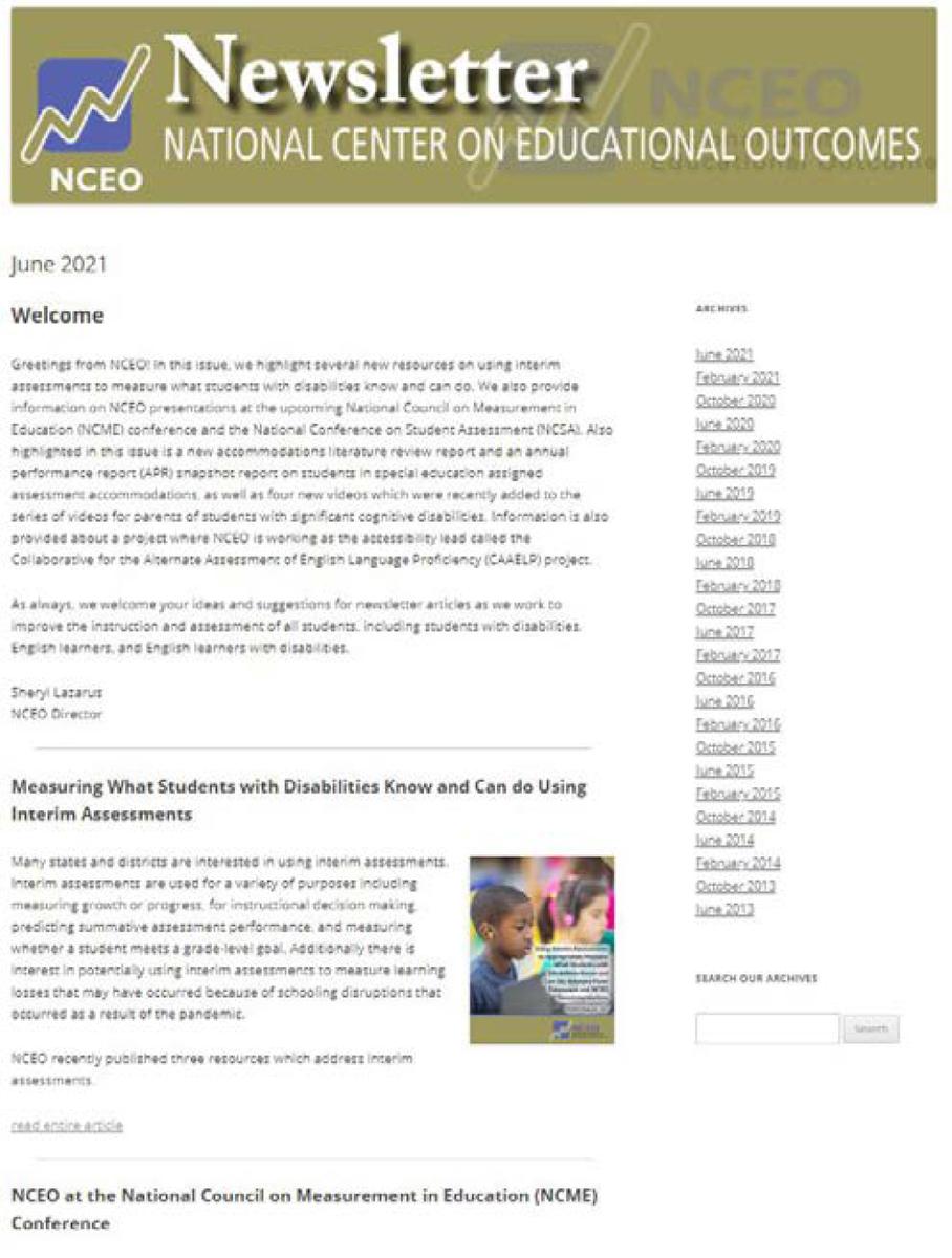June NCEO eNewsletter