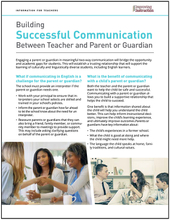 Building Successful Communication Between Teacher and Parent or Guardian
